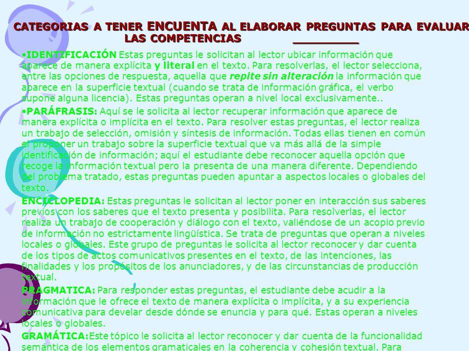 CATEGORIAS A TENER ENCUENTA AL ELABORAR PREGUNTAS PARA EVALUAR LAS COMPETENCIAS _________