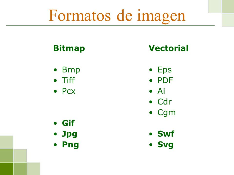 Formatos de imagen Bitmap Bmp Tiff Pcx Gif Jpg Png Vectorial Eps PDF