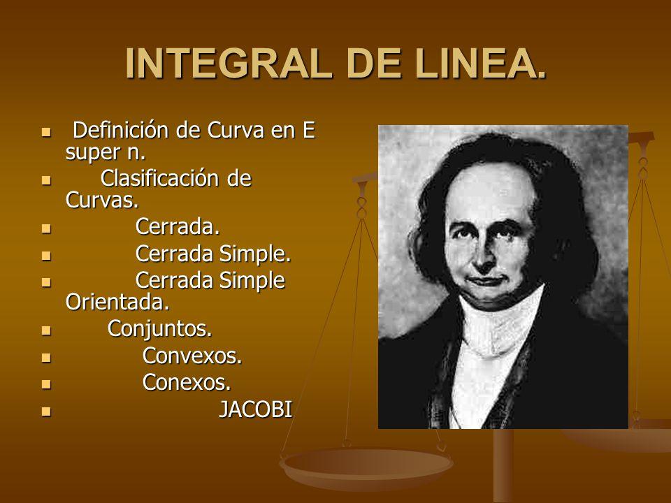 INTEGRAL DE LINEA. Definición de Curva en E super n.