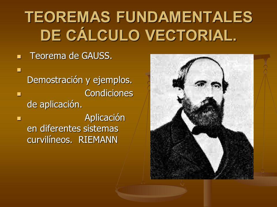 TEOREMAS FUNDAMENTALES DE CÁLCULO VECTORIAL.