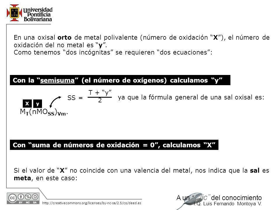 En una oxisal orto de metal polivalente (número de oxidación X ), el número de oxidación del no metal es y .