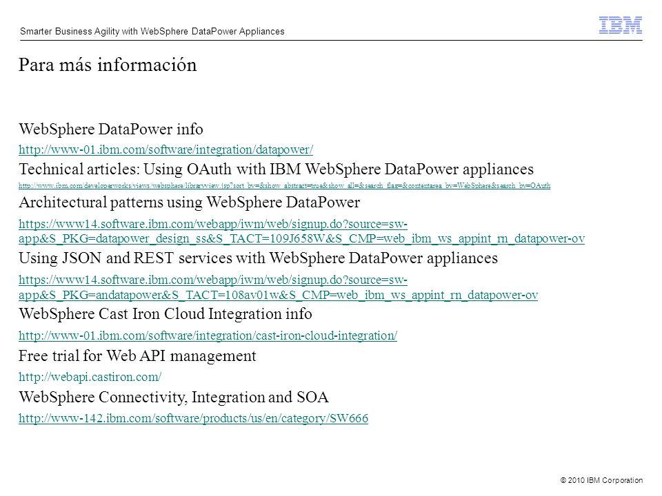 Para más información WebSphere DataPower info