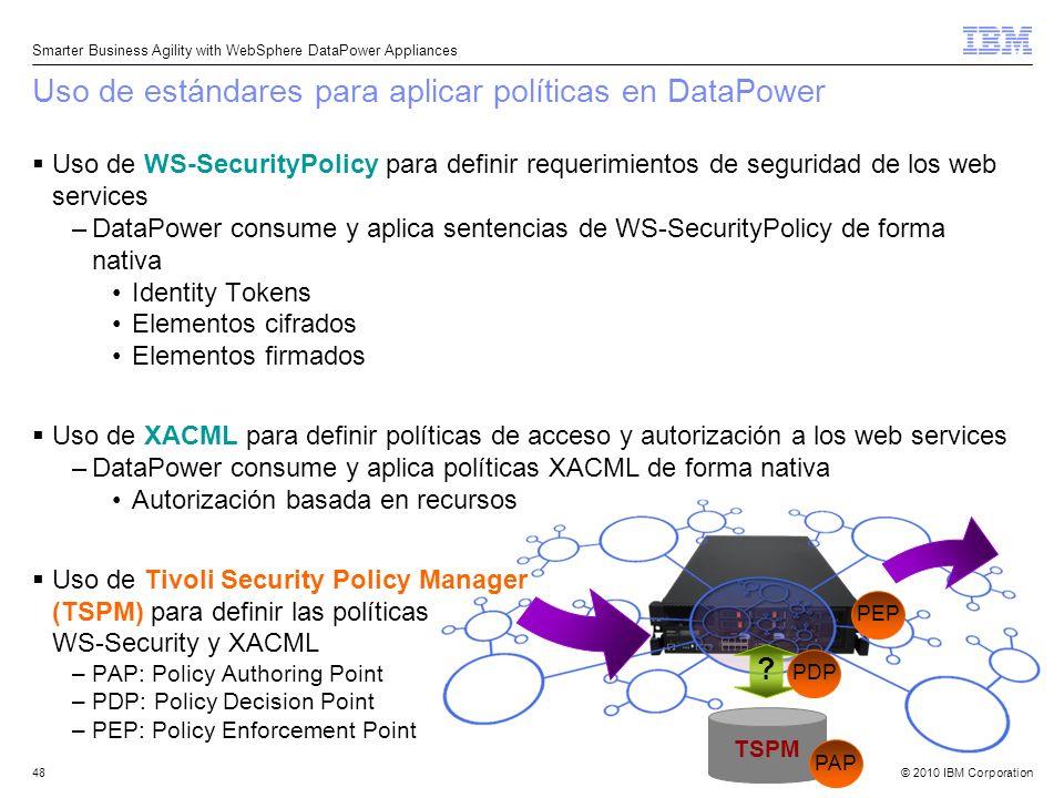 Uso de estándares para aplicar políticas en DataPower
