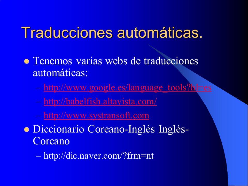 Traducciones automáticas.