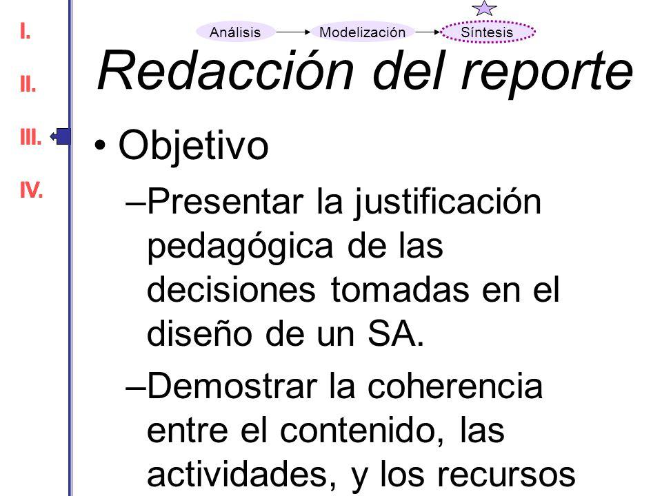 Redacción del reporte Objetivo Criterios de base