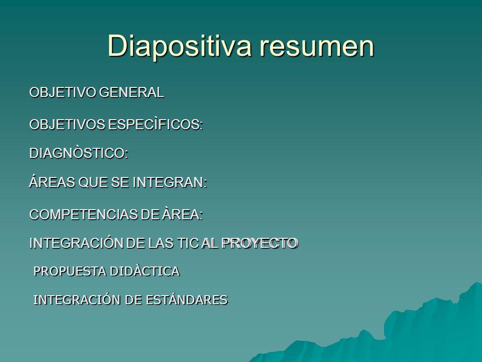 Diapositiva resumen OBJETIVO GENERAL OBJETIVOS ESPECÌFICOS: