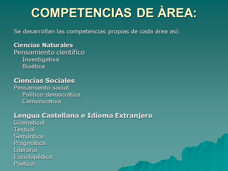 COMPETENCIAS DE ÀREA: Pensamiento científico Ciencias Sociales