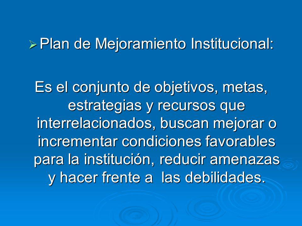 Plan de Mejoramiento Institucional:
