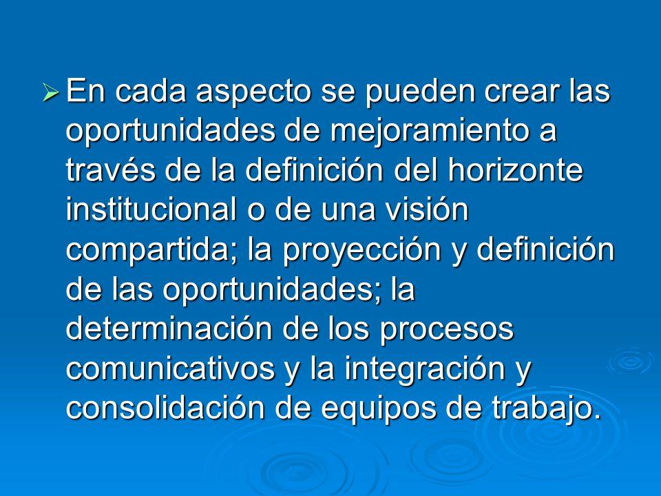 En cada aspecto se pueden crear las oportunidades de mejoramiento a través de la definición del horizonte institucional o de una visión compartida; la proyección y definición de las oportunidades; la determinación de los procesos comunicativos y la integración y consolidación de equipos de trabajo.
