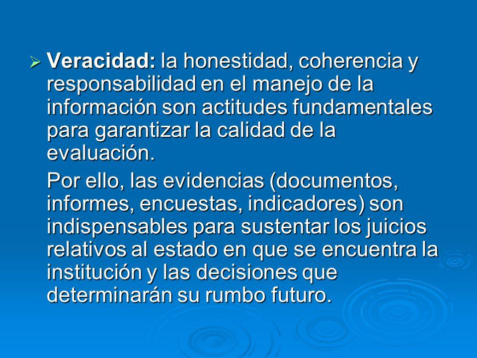 Veracidad: la honestidad, coherencia y responsabilidad en el manejo de la información son actitudes fundamentales para garantizar la calidad de la evaluación.