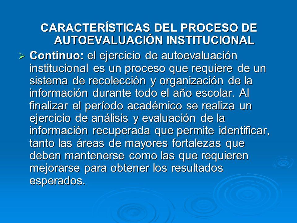 CARACTERÍSTICAS DEL PROCESO DE AUTOEVALUACIÓN INSTITUCIONAL