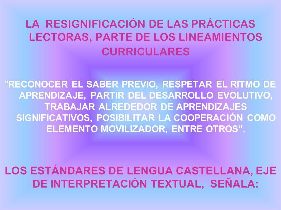 LA RESIGNIFICACIÓN DE LAS PRÁCTICAS LECTORAS, PARTE DE LOS LINEAMIENTOS CURRICULARES