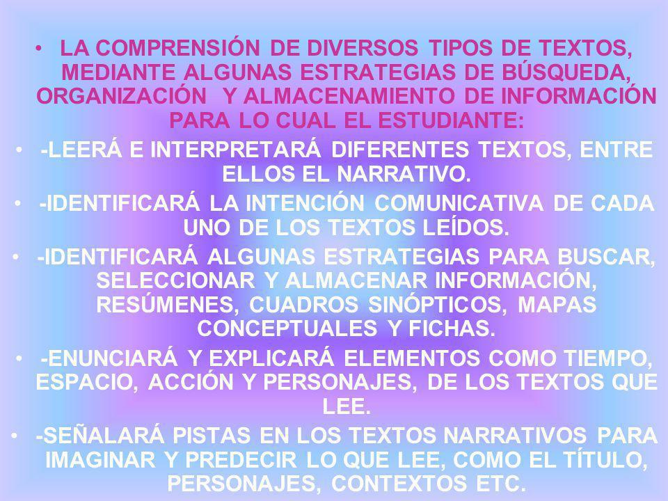 -LEERÁ E INTERPRETARÁ DIFERENTES TEXTOS, ENTRE ELLOS EL NARRATIVO.