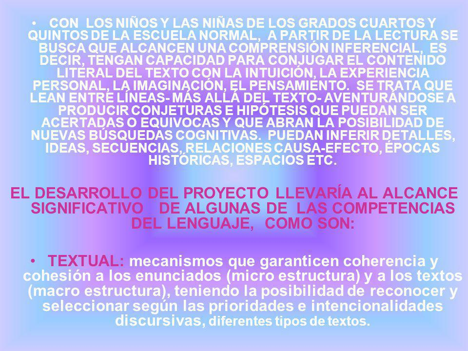 CON LOS NIÑOS Y LAS NIÑAS DE LOS GRADOS CUARTOS Y QUINTOS DE LA ESCUELA NORMAL, A PARTIR DE LA LECTURA SE BUSCA QUE ALCANCEN UNA COMPRENSIÓN INFERENCIAL, ES DECIR, TENGAN CAPACIDAD PARA CONJUGAR EL CONTENIDO LITERAL DEL TEXTO CON LA INTUICIÓN, LA EXPERIENCIA PERSONAL, LA IMAGINACIÓN, EL PENSAMIENTO. SE TRATA QUE LEAN ENTRE LÍNEAS- MÁS ALLÁ DEL TEXTO- AVENTURÁNDOSE A PRODUCIR CONJETURAS E HIPÓTESIS QUE PUEDAN SER ACERTADAS O EQUIVOCAS Y QUE ABRAN LA POSIBILIDAD DE NUEVAS BÚSQUEDAS COGNITIVAS. PUEDAN INFERIR DETALLES, IDEAS, SECUENCIAS, RELACIONES CAUSA-EFECTO, ÉPOCAS HISTÓRICAS, ESPACIOS ETC.