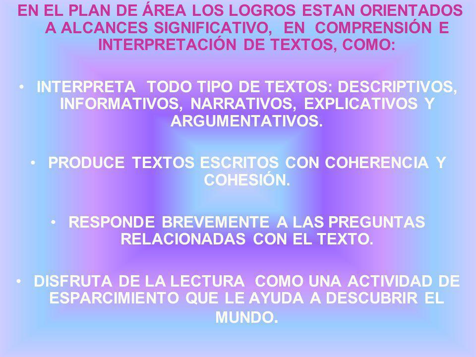 PRODUCE TEXTOS ESCRITOS CON COHERENCIA Y COHESIÓN.