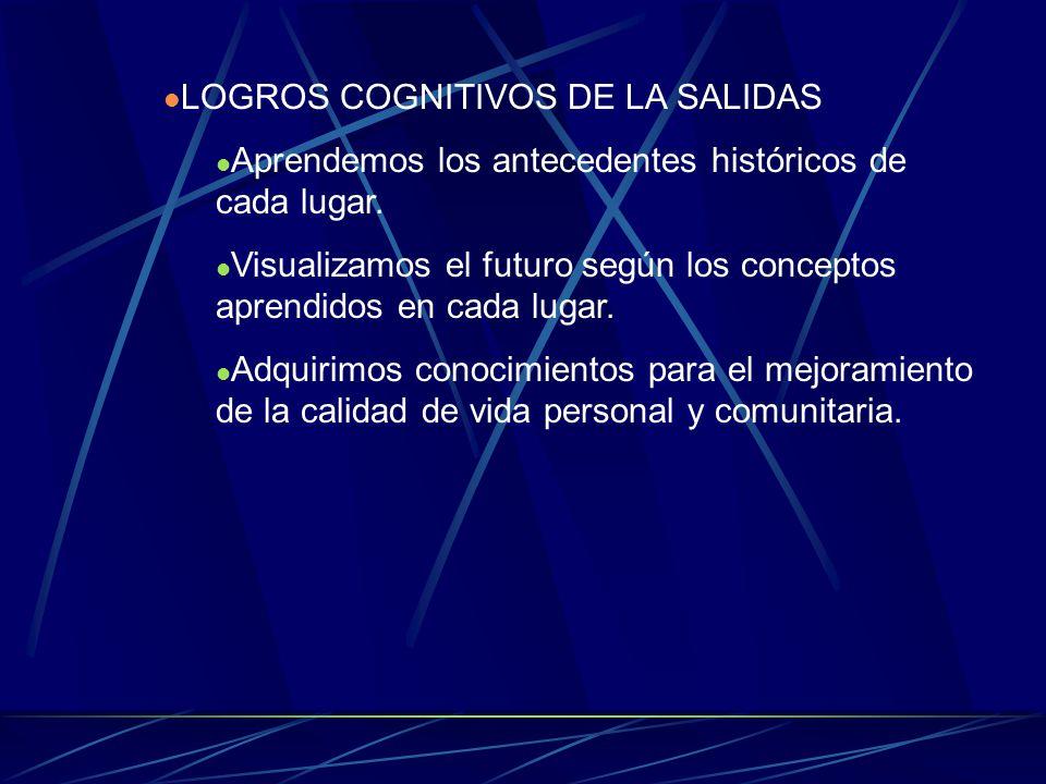 LOGROS COGNITIVOS DE LA SALIDAS