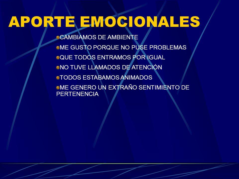 APORTE EMOCIONALES CAMBIAMOS DE AMBIENTE