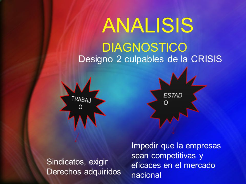 ANALISIS DIAGNOSTICO Designo 2 culpables de la CRISIS