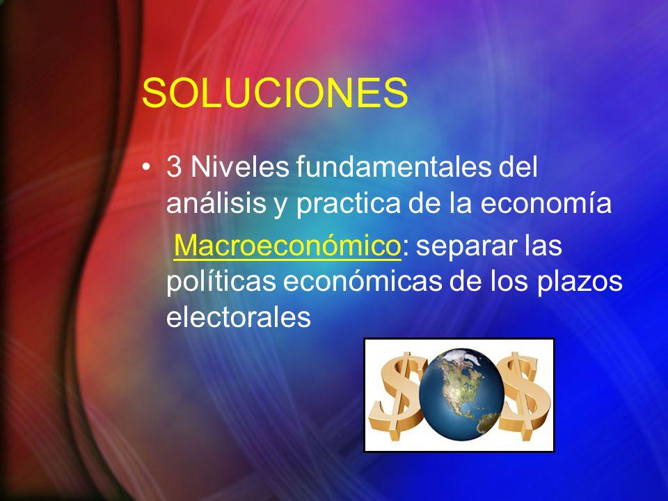 SOLUCIONES 3 Niveles fundamentales del análisis y practica de la economía.