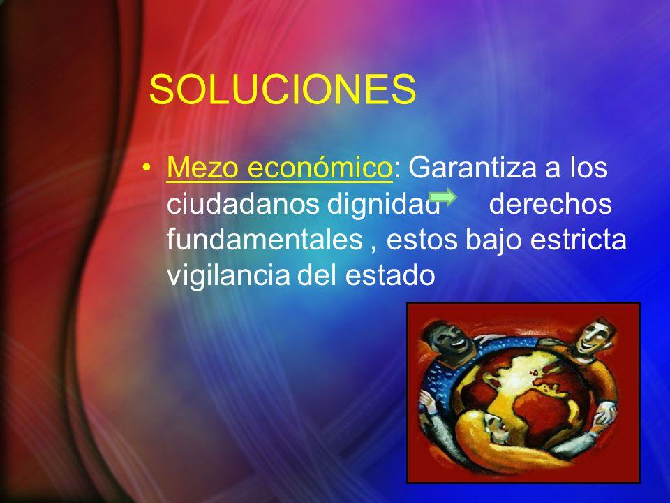 SOLUCIONES Mezo económico: Garantiza a los ciudadanos dignidad derechos fundamentales , estos bajo estricta vigilancia del estado.