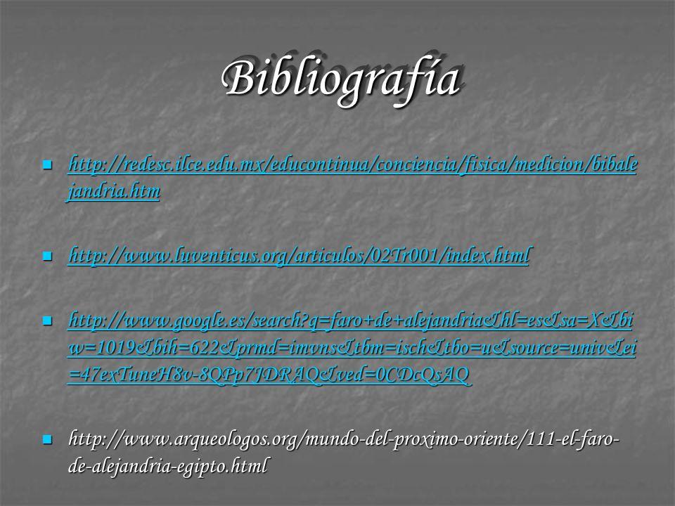 Bibliografía http://redesc.ilce.edu.mx/educontinua/conciencia/fisica/medicion/bibalejandria.htm.