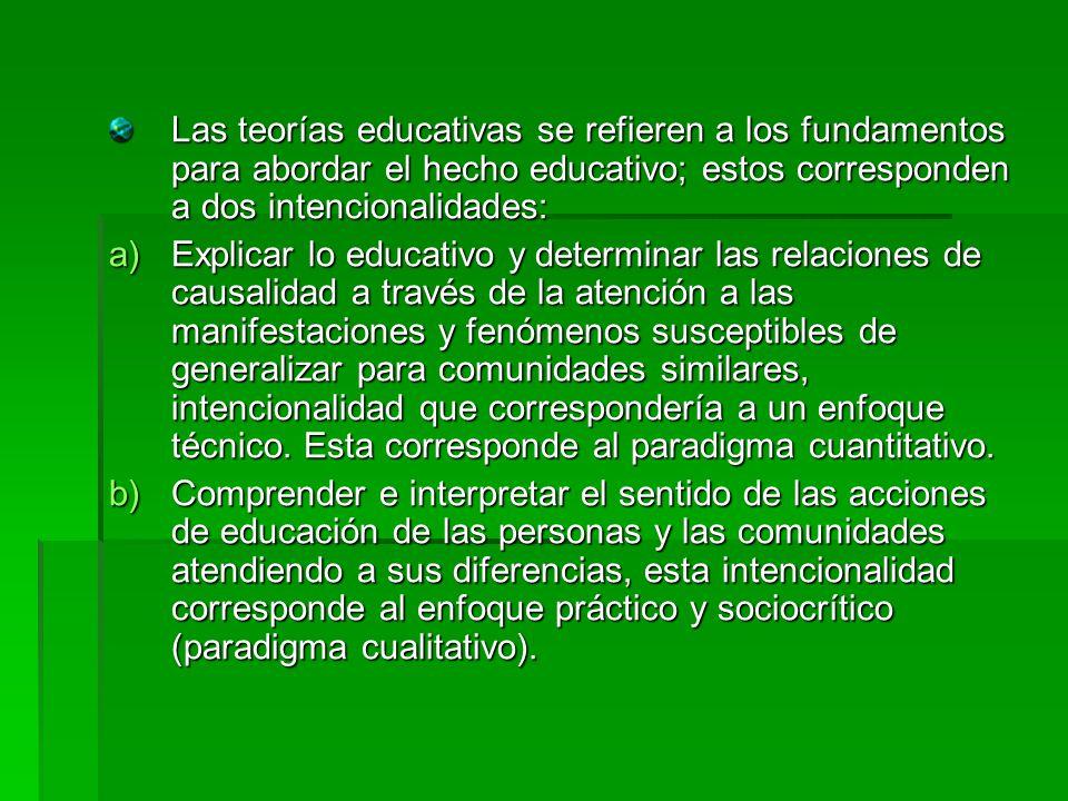 Las teorías educativas se refieren a los fundamentos para abordar el hecho educativo; estos corresponden a dos intencionalidades: