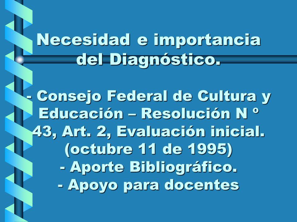 Necesidad e importancia del Diagnóstico