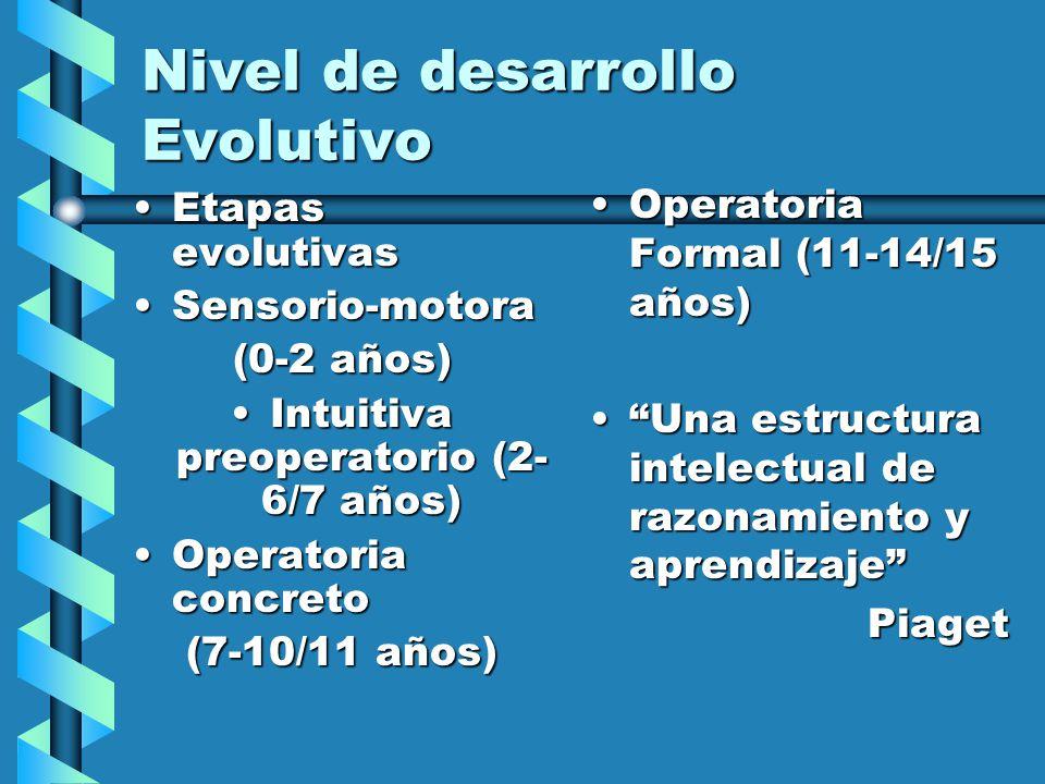Nivel de desarrollo Evolutivo