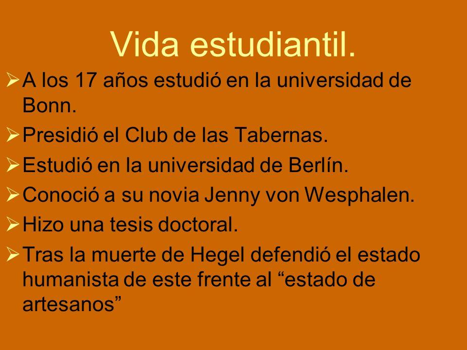 Vida estudiantil. A los 17 años estudió en la universidad de Bonn.