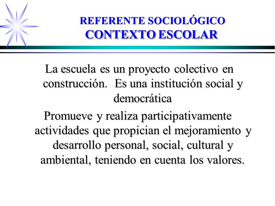 REFERENTE SOCIOLÓGICO CONTEXTO ESCOLAR