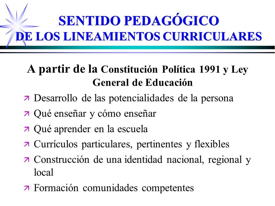 SENTIDO PEDAGÓGICO DE LOS LINEAMIENTOS CURRICULARES