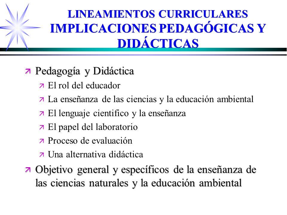 LINEAMIENTOS CURRICULARES IMPLICACIONES PEDAGÓGICAS Y DIDÁCTICAS