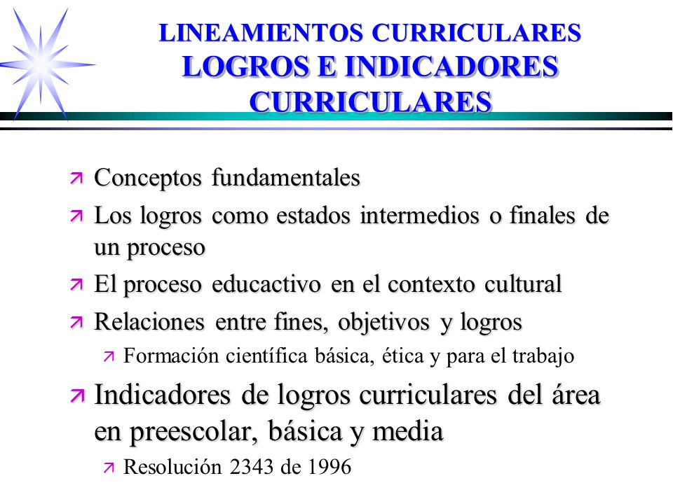 LINEAMIENTOS CURRICULARES LOGROS E INDICADORES CURRICULARES