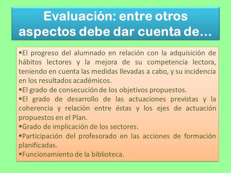 Evaluación: entre otros aspectos debe dar cuenta de…