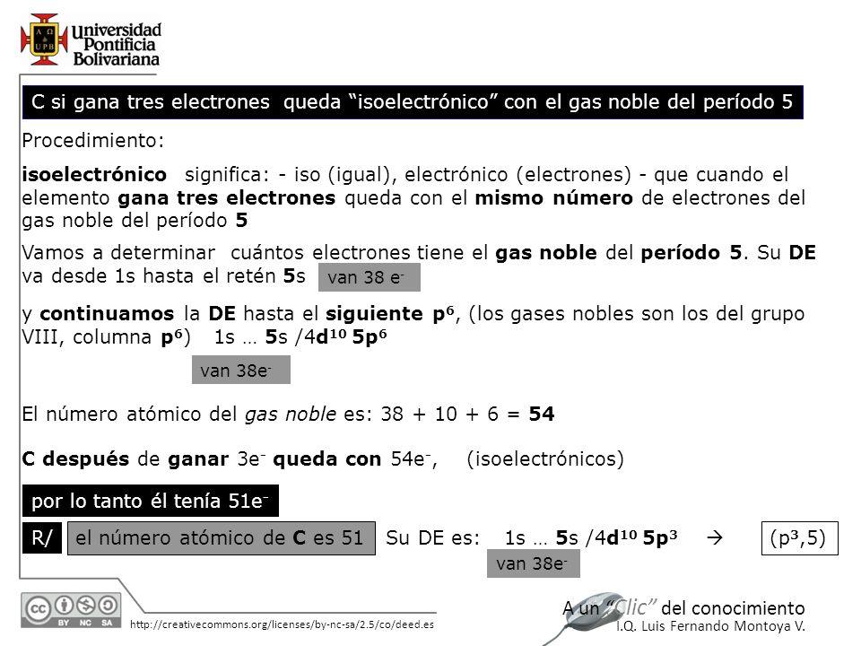 El número atómico del gas noble es: 38 + 10 + 6 = 54