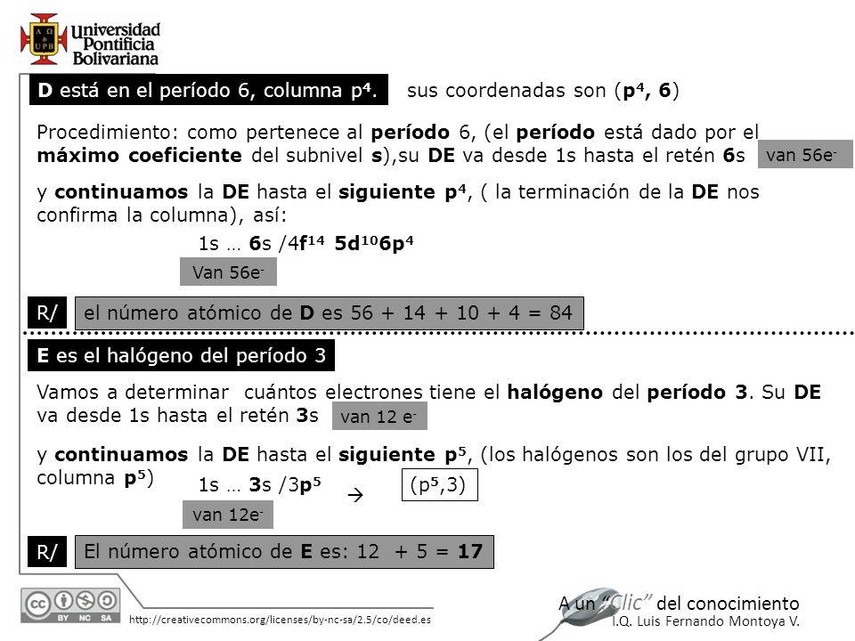 D está en el período 6, columna p4. sus coordenadas son (p4, 6)