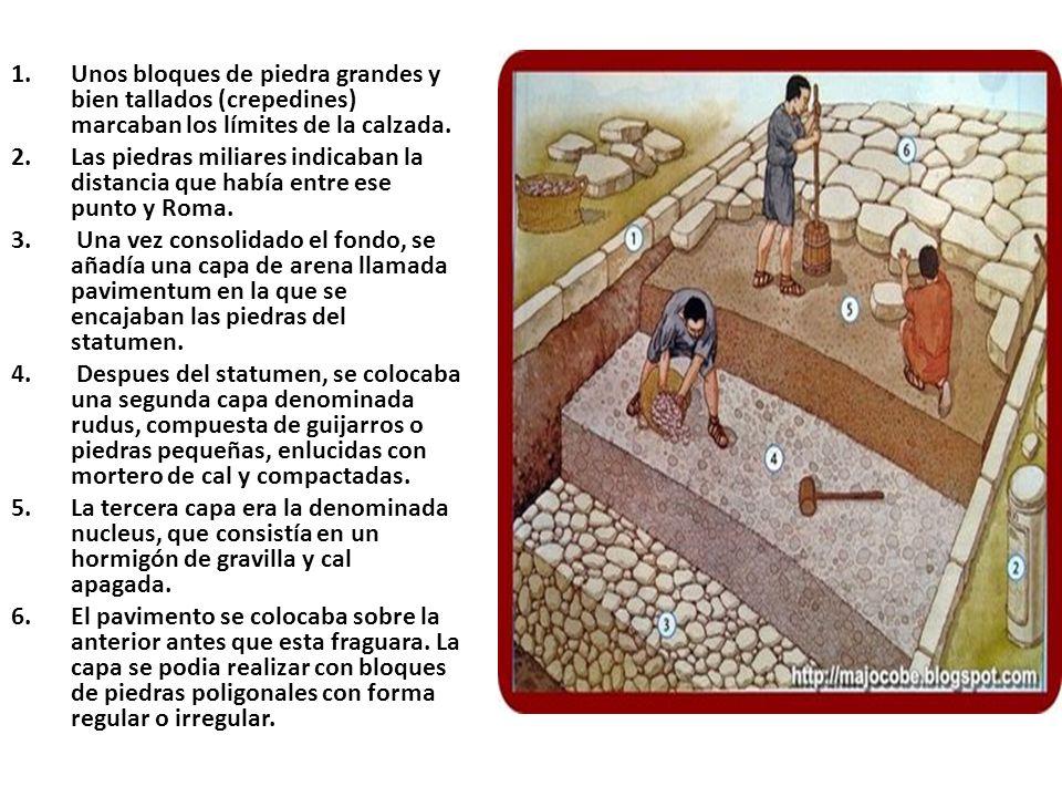Unos bloques de piedra grandes y bien tallados (crepedines) marcaban los límites de la calzada.
