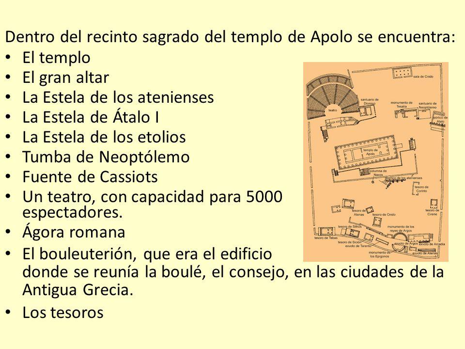 Dentro del recinto sagrado del templo de Apolo se encuentra: