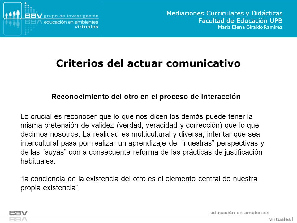 Criterios del actuar comunicativo