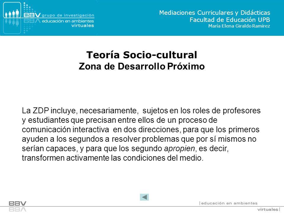 Teoría Socio-cultural Zona de Desarrollo Próximo