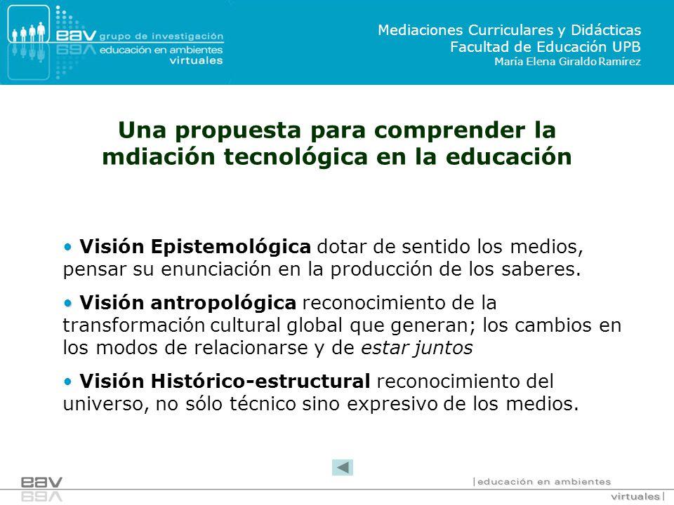 Una propuesta para comprender la mdiación tecnológica en la educación