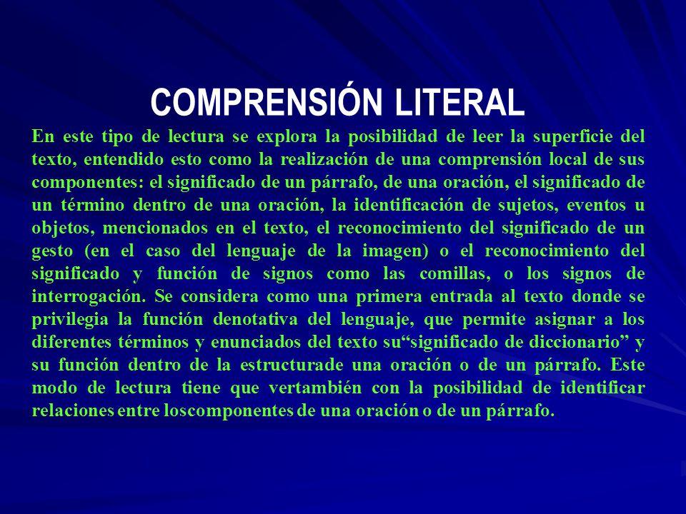 COMPRENSIÓN LITERAL