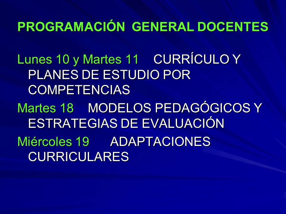 PROGRAMACIÓN GENERAL DOCENTES