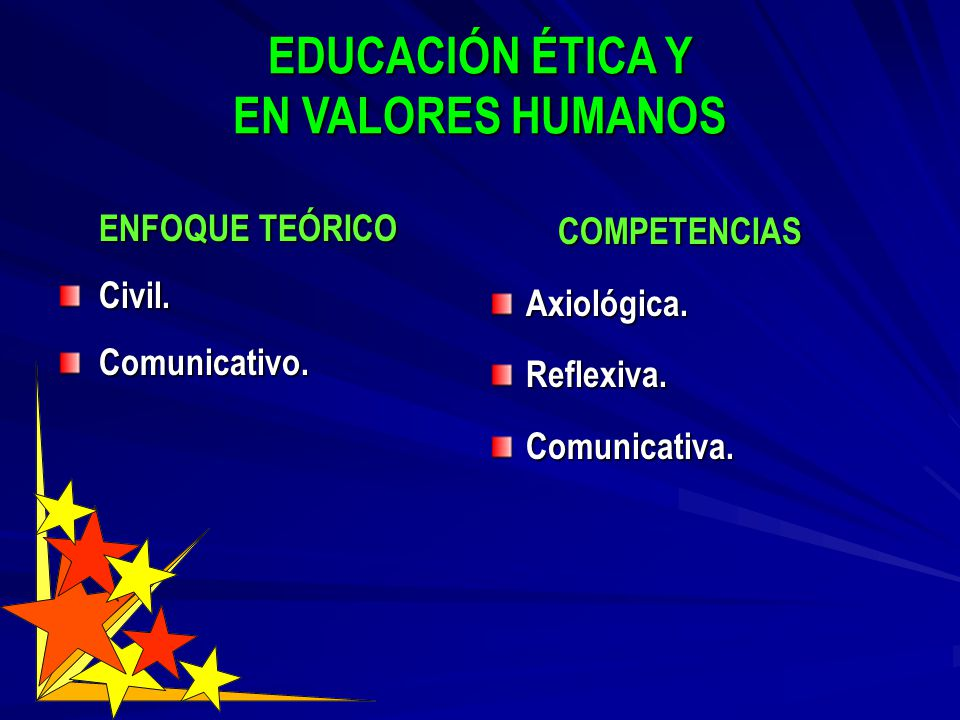 EDUCACIÓN ÉTICA Y EN VALORES HUMANOS