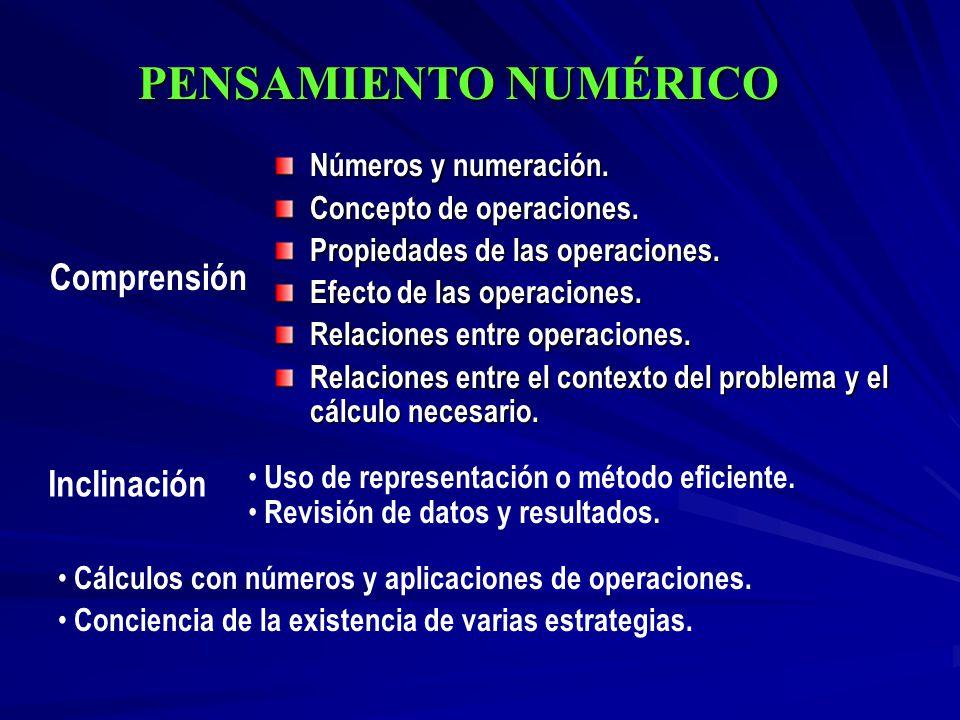 PENSAMIENTO NUMÉRICO Comprensión Inclinación Números y numeración.