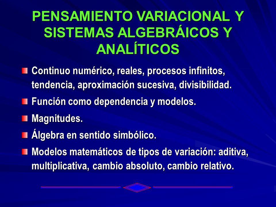 PENSAMIENTO VARIACIONAL Y SISTEMAS ALGEBRÁICOS Y ANALÍTICOS