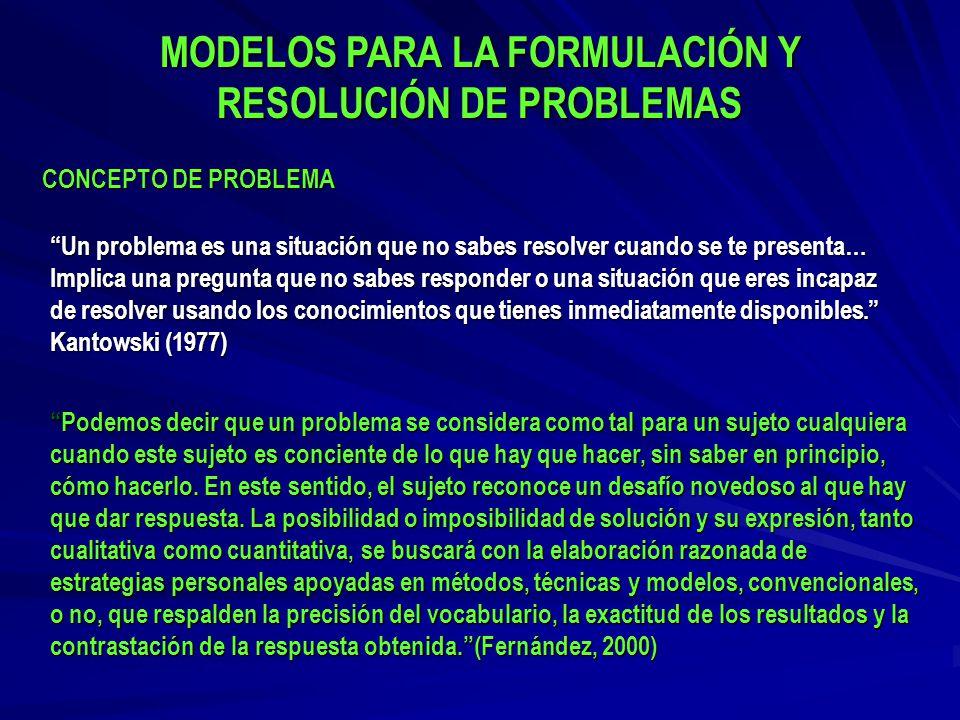 MODELOS PARA LA FORMULACIÓN Y RESOLUCIÓN DE PROBLEMAS