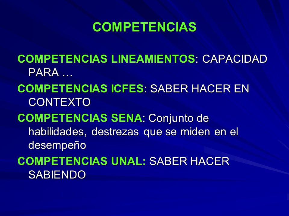 COMPETENCIAS COMPETENCIAS LINEAMIENTOS: CAPACIDAD PARA …
