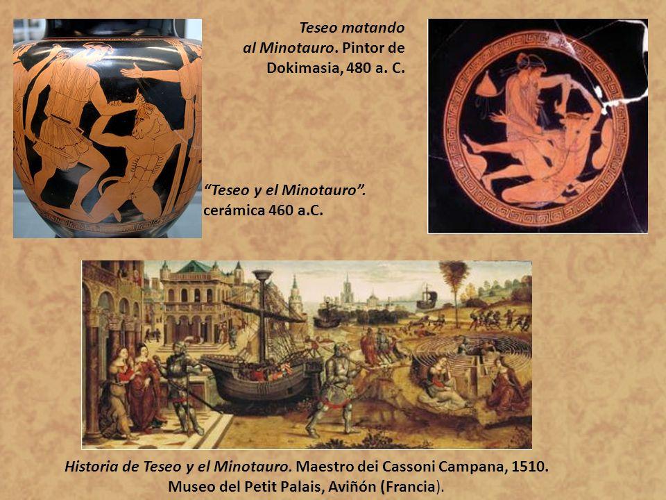 Teseo matando al Minotauro. Pintor de Dokimasia, 480 a. C. Teseo y el Minotauro . cerámica 460 a.C.