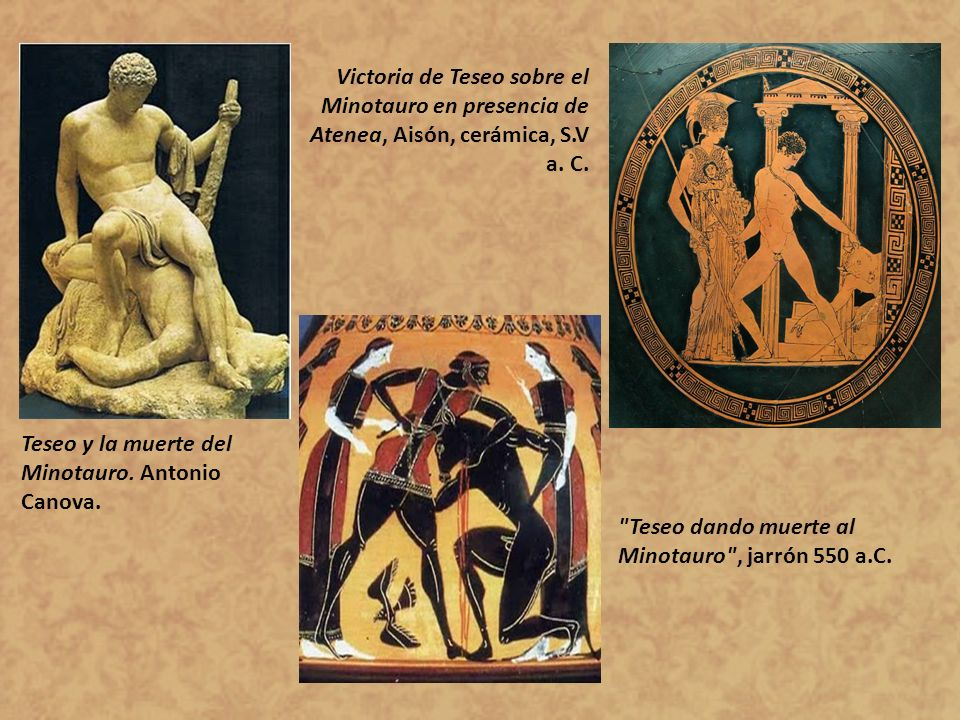 Victoria de Teseo sobre el Minotauro en presencia de Atenea, Aisón, cerámica, S.V a. C.